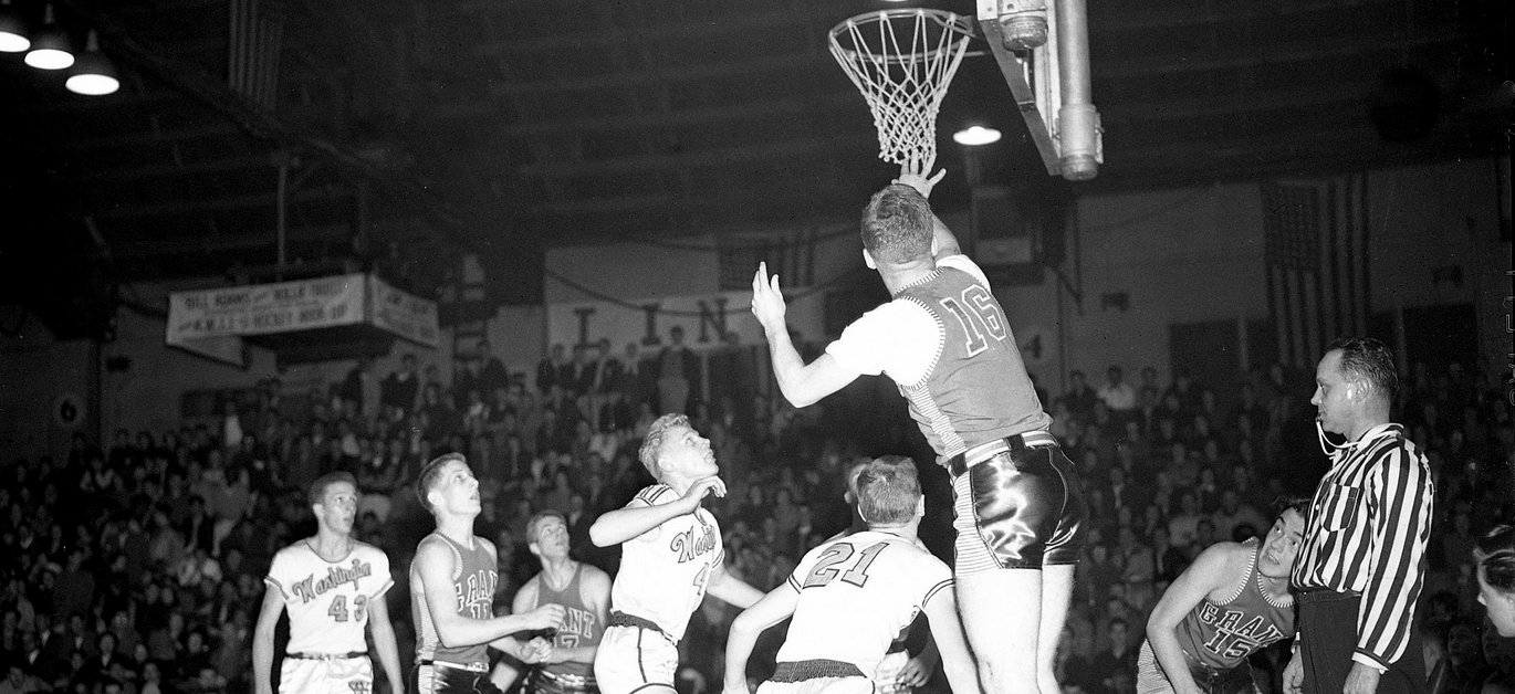 washington high school portland pdx basketball games historic B&W photo