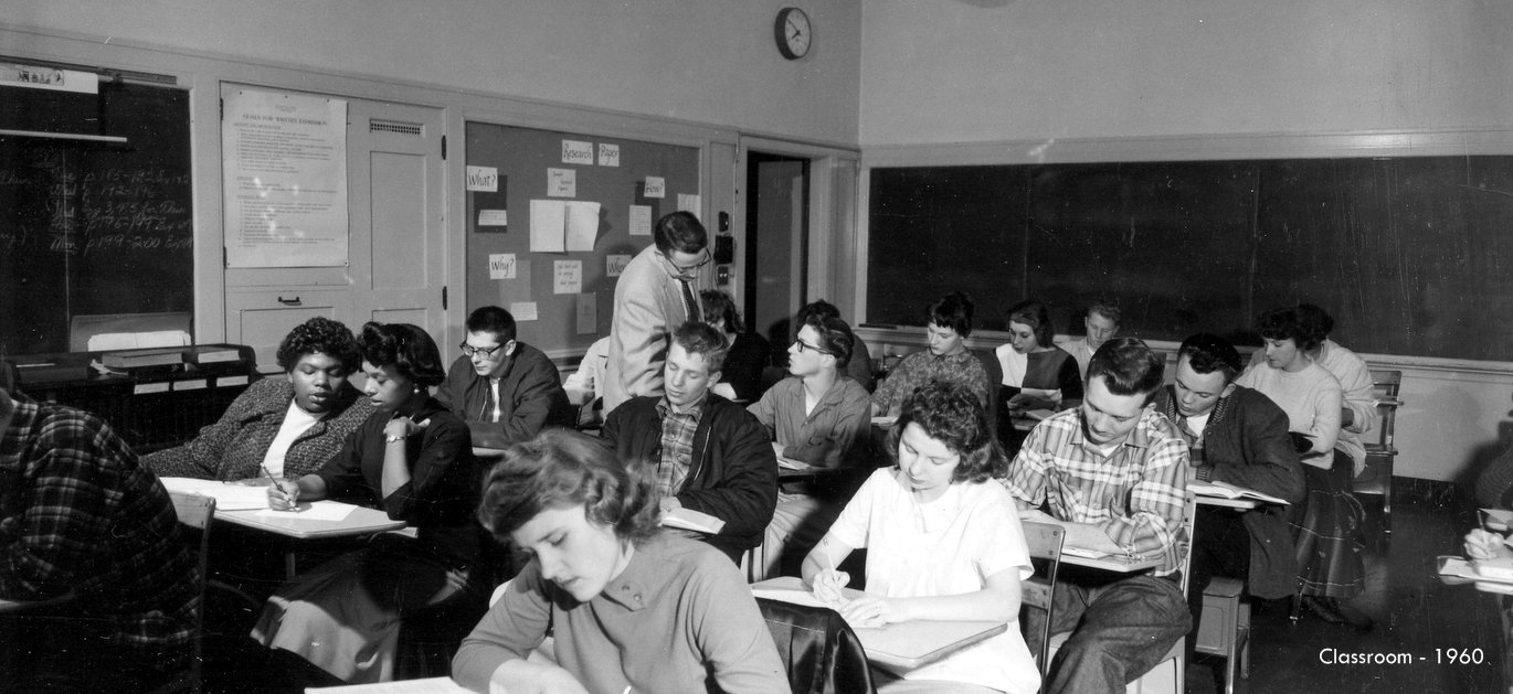 Washington high school classroom 1960 historic photo with students and teacher Portland OR PDX