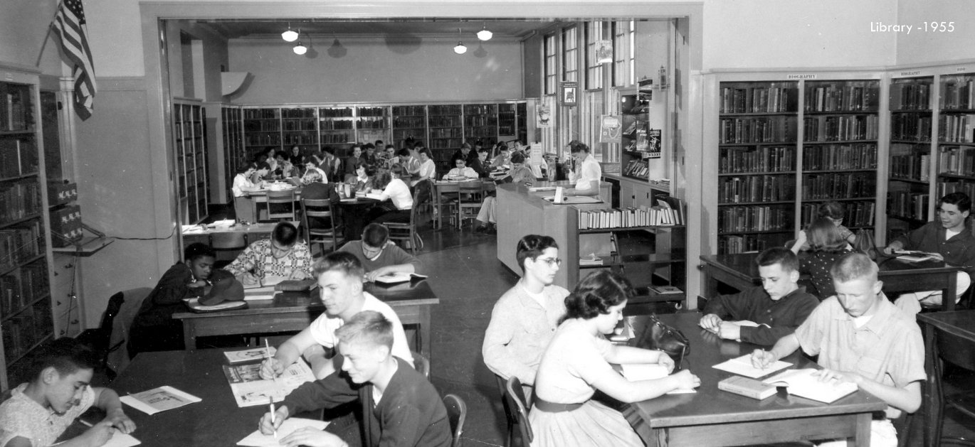 Washington high school library students 1955 historic photo Portland Oregon PDX