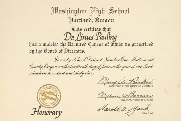 Linus Pauling's Diploma from Washington High School issuesd in 1962