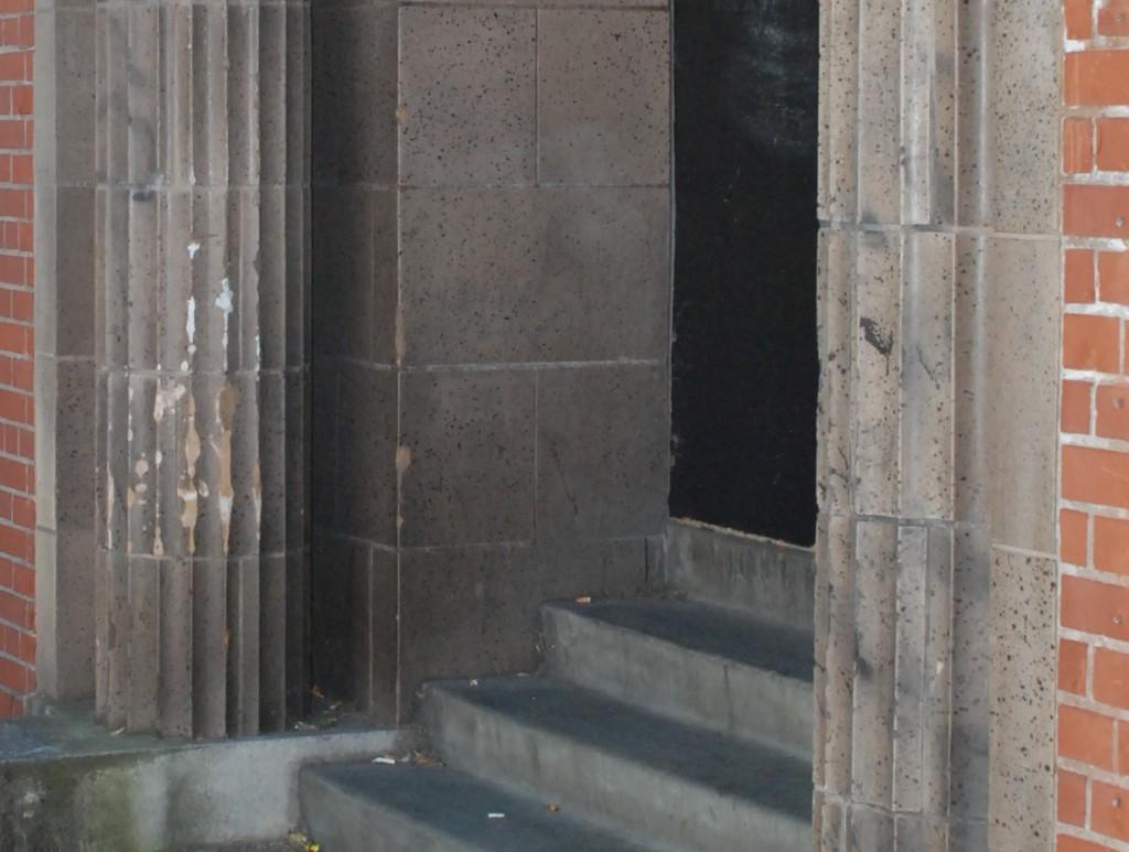 Photo of damaged terracotta at Washington High School in Portland, OR.