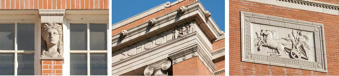 Facade features caryatid-head capitals, lion head and terracotta friezes.