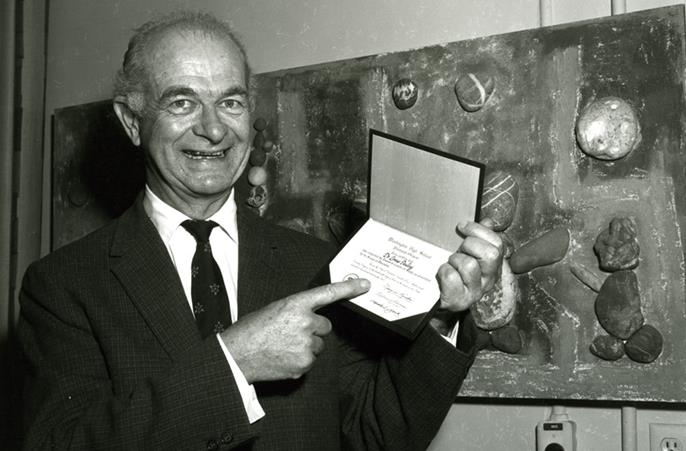 Linus Pauling with WHS diploma