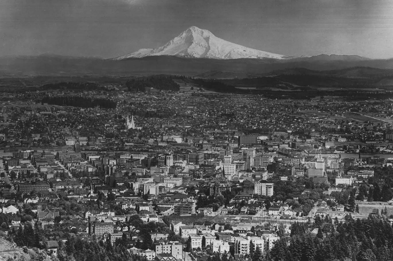 portland oregon historic photo B&W mount hood